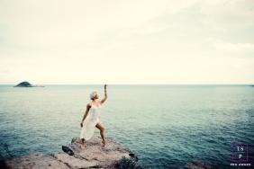 Lifestyle Women Portraits Session in Rio de Janeiro Brazil | Photo contains: ocean, rocks, wave, posing, islands
