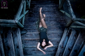 Lifestyle Portrait Photography in Rio de Janeiro Brazil | Image contains: woman, staircase, old, wood, creative-angle