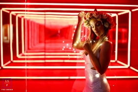 Rio de Janeiro Brazil Lifestyle Women Portraits - Photo contains: female, box of lights, red, inside