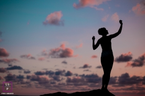 Lifestyle Portrait Photography in Rio de Janeiro Brazil | Image contains: clouds, silhouette, sunset, woman