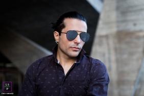 Lifestyle Men Portraits Session in Rio de Janeiro Brazil | Photo contains: man, sunglasses, outdoors, purple shirt