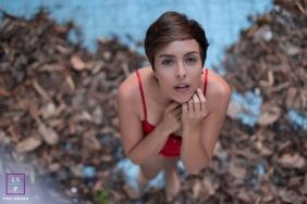 Rio de Janeiro Brazil Lifestyle Woman Portraits - Photo contains: pool, no water, dead leaves, creative