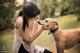 Lifestyle Teen Portrait Session in Lisbon Portugal | Photo contains: park, dog, color, woman