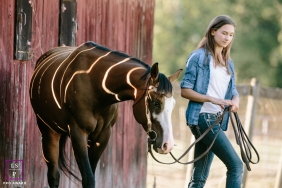 Lifestyle Teen Portrait Session in Seattle Washington | Photo contains: horse, girl, barn, halter, fence, color, sunlight