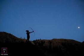 Lifestyle Teen Portraits Seattle Washington - Photo contains: moon, senior, woman, night, bow, arrow, silhouette, stars