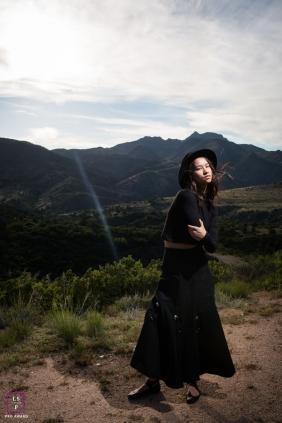 Lifestyle Teen Portraits Arizona United States- Photo contains: senior, mountains, sky, light, sand, posing