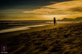 Minas Gerais Brazil Lifestyle Portraits - Photo contains: sunset, woman, sand, clouds, beach, ocean, golden, colorful