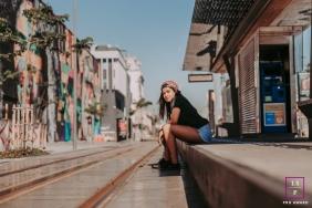 Rio de Janeiro Brazil Teen Photography - Lifestyle Portrait contains: outdoor, solo, senior, train station, city, sunlight, shadow, sky, cloudless