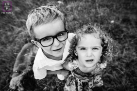 Sibling Portraits in Bourgogne-Franche-Comte France | Lifestyle Photography Session contains: boy, girl, sister, brother, close-up, overhead, black and white