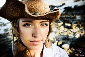 Woman Portrait Session in Key West Florida | Lifestyle Photography contains: female, hat, earrings, shore, rocks