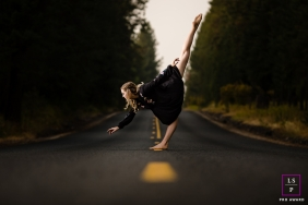 Teen Photography for Coeur d'Alene Idaho - Lifestyle Portrait contains: road, color, outdoors, arabesque, solo, trees