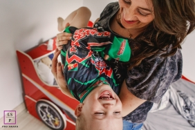 Rio Grande do Sul Brazil Mom and Child Lifestyle Portraits - Photo contains: mother, son, bedroom, car bed, fun, laughing