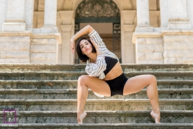 Rio de Janeiro Dancer Lifestyle Portrait Photography Brazil | Image contains: woman, stairs, building, pose, art