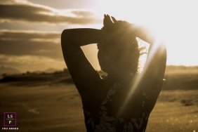 Macae Sunset Lifestyle Portraits - Photo contains: Rio de Janeiro, sun, lady, clouds, sand, blinded, posing, shot