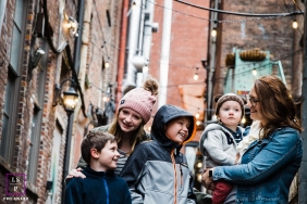 TN Family Lifestyle Portraits - Photo contains: family, Nashville, boys, girl, mother, smiling, alley, outside, art