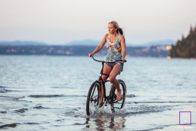 Seattle Beach Lifestyle Portraits | Photo contains: bike, woman, beach, water, outdoors, color
