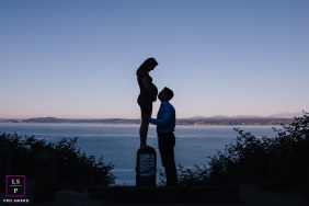 Seattle Maternity Lifestyle Portraits - Photo contains: WA, ocean, sky, silhouettes, pregnancy, father, mother