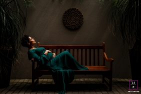 Curitiba Pregnancy Photography | Image contains: pregnancy, room, bench, mother, sunlight