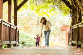 Lake Tahoe California Lifestyle Family Photography Session | Image contains: mother, toddler, walk, bridge