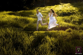 Brazil Couple Photography | Image contains: grass, path, run, man, woman