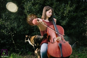 Seattle Lifestyle Teen/Senior Portraits Washington - Photo contains:  calico cat, girl, teen, senior, cello