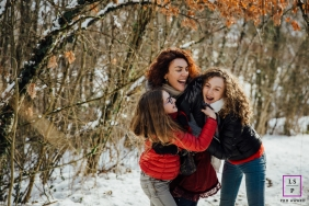 Auvergne-Rhone-Alpes Lifestyle Family Portraits - Photo contains: France, mother, dauthers, hug, snow, trees, outdoors, color