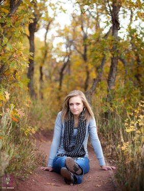 Virginia Lifestyle Teen Portrait Photography Session | Image contains: trail, grass, fall, leaves, senior, color, outdoors, portrait
