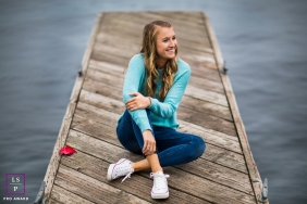 San Francisco California Lifestyle Teen Portraits | Photo contains: senior, portrait, color, dock, water, ocean