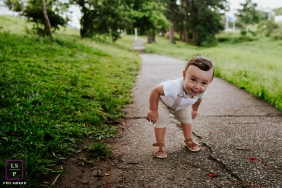 Santa Catarina Lifestyle Toddler Portraits | Photo contains: sidewalk, color, boy, baby, trees, grass