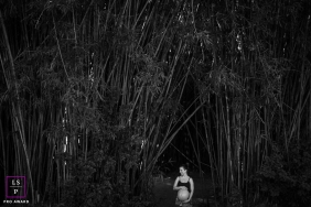 Florianopolis Maternity Portrait Session in Black and White | Photo contains: bamboo, outdoors, black, white, pregnant, leaves