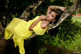 Espírito Lifestyle Teen Portraits | Santo Brazil Photography session with trees and yellow dress
