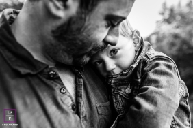 Bourgogne-Franche-Comte Family Lifestyle Photographer | Image contains: France dad and son in black and white portrait.