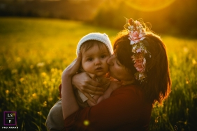 Sunset Family Photography for Auvergne-Rhone-Alpes  - Lifestyle Portrait: Mother and son