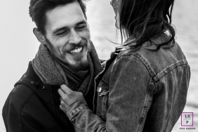 Couple Photographer in Haute-Savoie | Lifestyle Image contains: denim, jean, jacket, lovers, young, hold