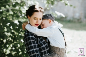 Family Portraits in Grand Est | Lifestyle Photography Session contains: mother, son, outdoor, tree, grass