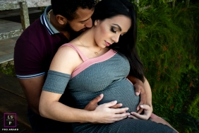 Maternity Photos in Brazil | Rio de Janeiro Lifestyle Image contains: couple, hug, pregnancy, hands, trees