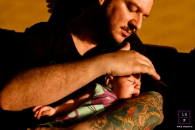 Family Photography for Rio de Janeiro - Lifestyle Portrait contains: Brazil Daddy with his baby