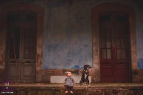 Ribeirao Pretofamily portraits - Leonora, baby I accompanied, with the family dog in Sao Paulo