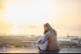 Lisbon and Portugal lifestyle portrait photography. Mom and son - Care with sunset and the sea