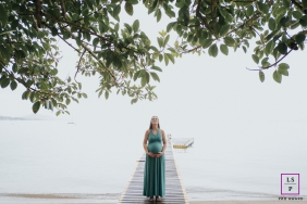 Santa Catarina Lifestyle Maternity photo shoot on a foggy day at the water's edge on a dock.