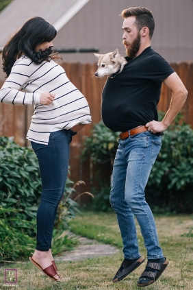 Expecting couple jumps together with their dog | Washington Lifestyle Photographer