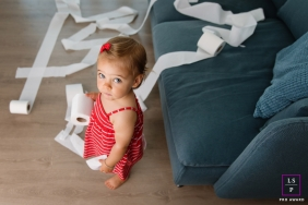Toddler making mess with toilet paper | Marseille Bouches-du-Rhone Lifestyle Photography
