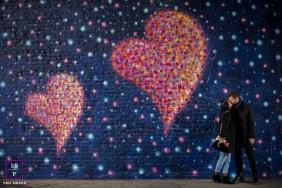 London England Couple portrait by a heart's graffiti