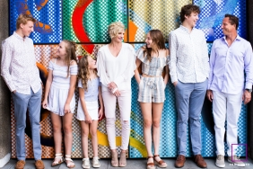 London England Family lifestyle portrait with colorful wall
