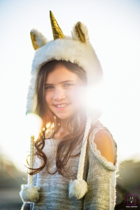 San Francisco California lifestyle teen session dressed as a unicorn in disguise!