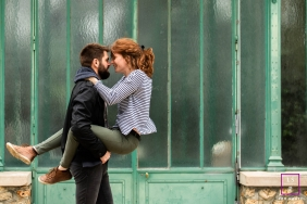A couple is playful during a photoshoot in France
