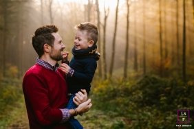 A France family portrait session with a Dad and his son in the forest