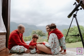 Florianopolis, Santa Catarina, Brazil parents with kids in a lifestyle portrait with a view