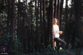 China lifestyle teen photography in the tall trees of the Hunan forest
