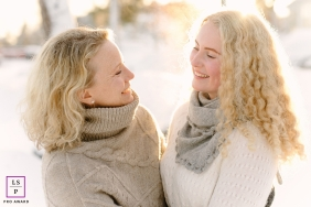 A winter lifestyle shoot in Oslo with Mother and daughter in the winter snow of Norway